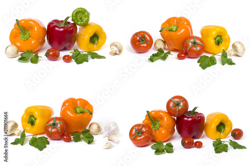 Red yellow and orange peppers with tomatoes on a white background..Multicolored vegetables in a composition on a white background.. - 211901664
