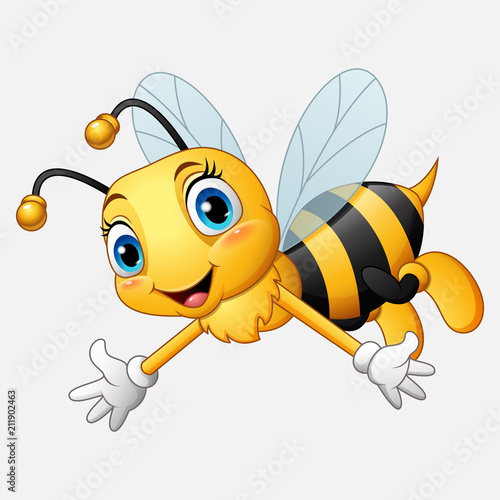 Cartoon happy bee waving hand