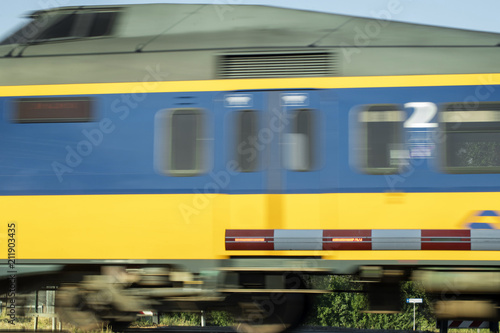 Train passing crossing. Netherlands. Speed