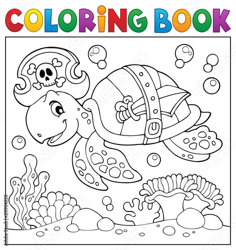 Fotobehang Voor kinderen Coloring book pirate turtle theme 2