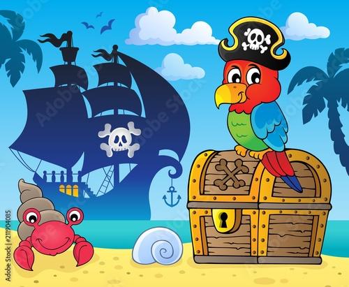 Fotobehang Voor kinderen Pirate parrot on treasure chest topic 3
