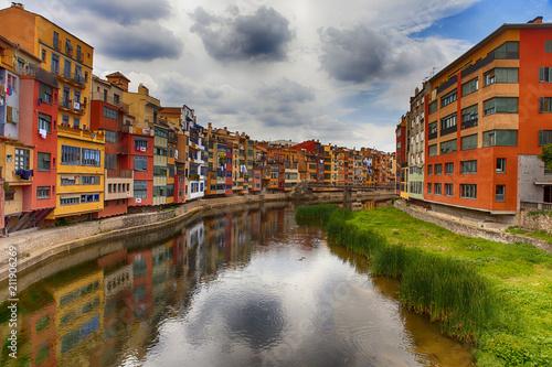 Colorful houses in Girona, Spain - 211906269