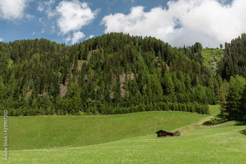 Fotobehang Pistache Architectural and natural beauties of the Val Aurina