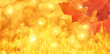 orange background with maple leaves and flame tips