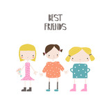 Cute little girls with slogan. Vector hand drawn illustration. - 211912222