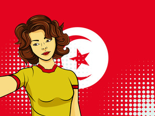 Asian woman taking selfie photo in front of national flag Tunisia in pop art style illustration. Element of sport fan illustration for mobile and web apps