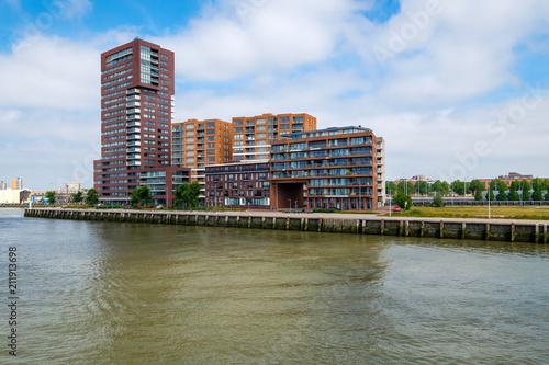 Fotobehang Rotterdam Modern apartments at the harbor of Rotterdam, Netherlands