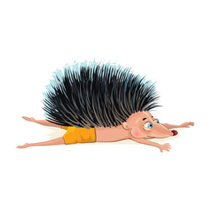 Hedgehog doing yoga. Vector cartoon illustration isolated on white. © marinaeisymont