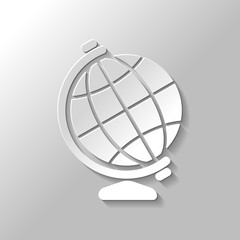 Simple globe symbol. Paper style with shadow on gray background
