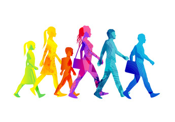 A selection of people silhouettes walking including children, women and men. Colourful texture vector illustration.