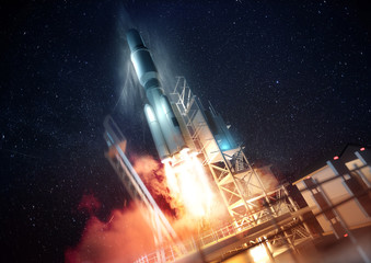 A large commercial rocket being launched into space at night. 3D illustration.
