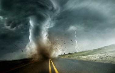A powerful and dark storm producing a tornado crossing through fields and roads. Dramatic Landscape Mixed media illustration.