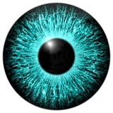 Blue eye 3d, texture with black fringe and white background