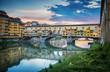 Quadro Famous bridge Ponte Vecchio on the river Arno in Florence, Italy. Evening view.