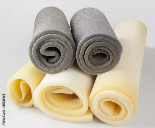 foam, samples of gray and yellow color, in rolls, composition - 211928665