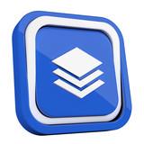 ikona plastikowa 3D niebieski kwadrat pierścień - 211931816