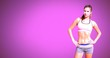 Leinwanddruck Bild - Athletic exercise woman with blank pink background