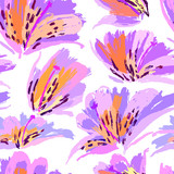 Floral painting seamless pattern. Free hand colorful background with botanical motif. Hand drawn artistic background. - 211937833