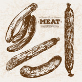 Hand drawn sketch meat products set - 211938415