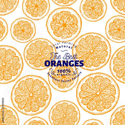Pomarańczowy wzór. Ręcznie rysowane wektor tle owoców. Grawerowany styl. Vintage ilustracji cytrusowych.