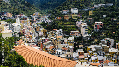 Panoramic view of the riomaggiore, one of the villages of Cinque Terre in Italy