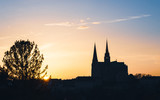 Chartres Cathedral, also called Cathedral of Our Lady of Chartres at sunset in France - 211950039