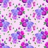 Floral seamless pattern. Watercolor hand drawn illustration