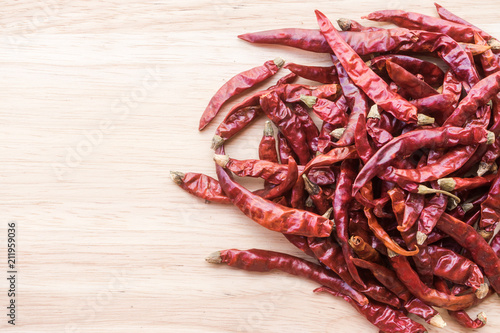 Fotobehang Hot chili peppers dry red chili pepper on wooden background