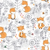 Vector hand drawn seamless pattern. Cute cartoon fox with flowers. - 211960015