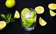 Leinwanddruck Bild - Mojito mint leaf cocktails with ice