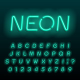 Neon lamp alphabet font. Neon color oblique letters, numbers and symbols. Stock vector typeface for any typography design. - 211964603