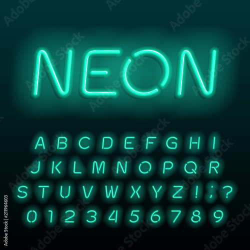 Neon lamp alphabet font. Neon color oblique letters, numbers and symbols. Stock vector typeface for any typography design.