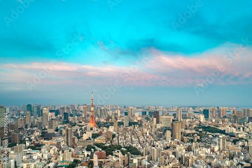 Fotobehang Turkoois TOKYO, JAPAN - June 21, 2018: Tokyo Tower is the world's tallest, self-supported steel tower in Tokyo, Japan