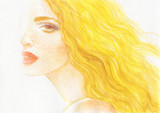summer time. beautiful woman. fashion illustration. watercolor painting - 211968286