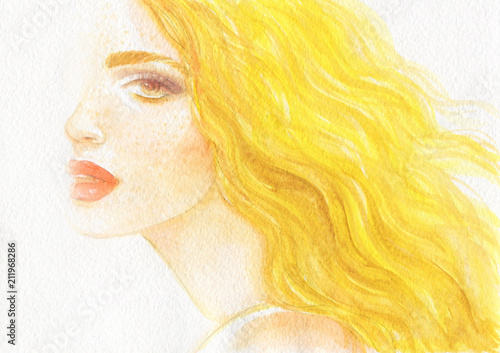 Fotobehang Anna I. summer time. beautiful woman. fashion illustration. watercolor painting
