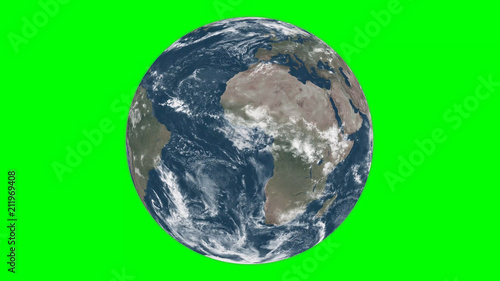 Leinwandbild Motiv earth in green screen