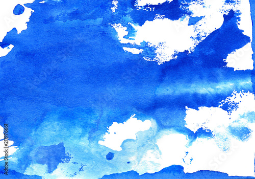 Blue paint stains texture. Ink blots isolated on white background. Abstract watercolor splashes © aerial333