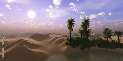Aluminium Purper oasis in the desert of sand. Lake with palm trees in the sands. 3D rendering