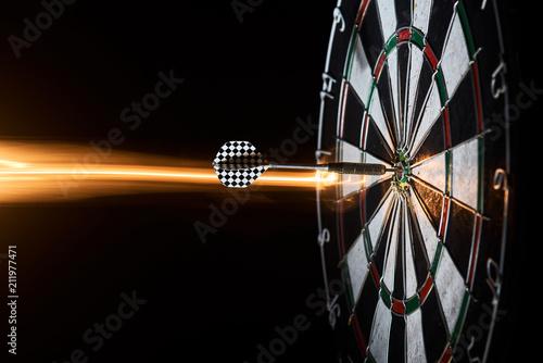 Poster darts. Dartboard. dart in bullseye