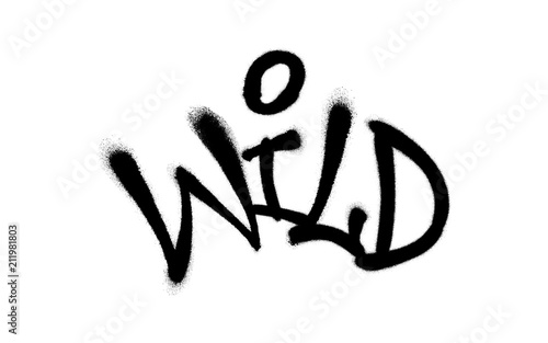 Sprayed wild font graffiti with overspray in black over white. Vector illustration.
