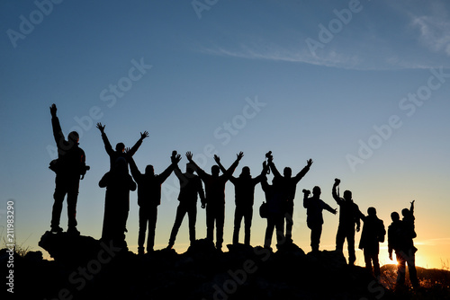 crowd of nature travelers group and magnificent sunrises
