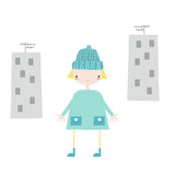 Funny doodle girl walking in the city. Vector hand drawn illustration. - 211984004