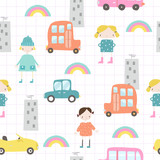 Cute kids seamless pattern with little girls in the city. Vector hand drawn illustration. - 211984015