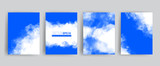 Vector banner set. Realistic sky with clouds illustration for cards, templates, web. - 211986259