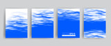 Vector banner set. Realistic water surface illustration for cards, templates, web. - 211986474