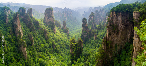 Beautiful panorama of karst mountains in Zhiangjiajie National Park, China