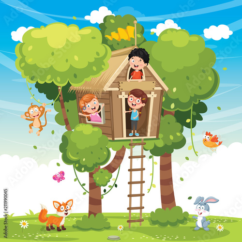 Fototapeta Vector Illustration Of Children Playing At Tree House