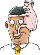 A cartoon of a tiny, naked man clinging to the head of a tanned businessman yuppie.