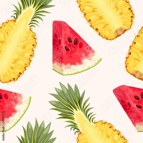 Pineapple and watermelon seamless