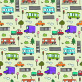 Cute cartoon seamless pattern with doodle city transport. Summer street childish texture with public transportation, trees, roads, traffic lights for kids textile, wrapping paper, background, package